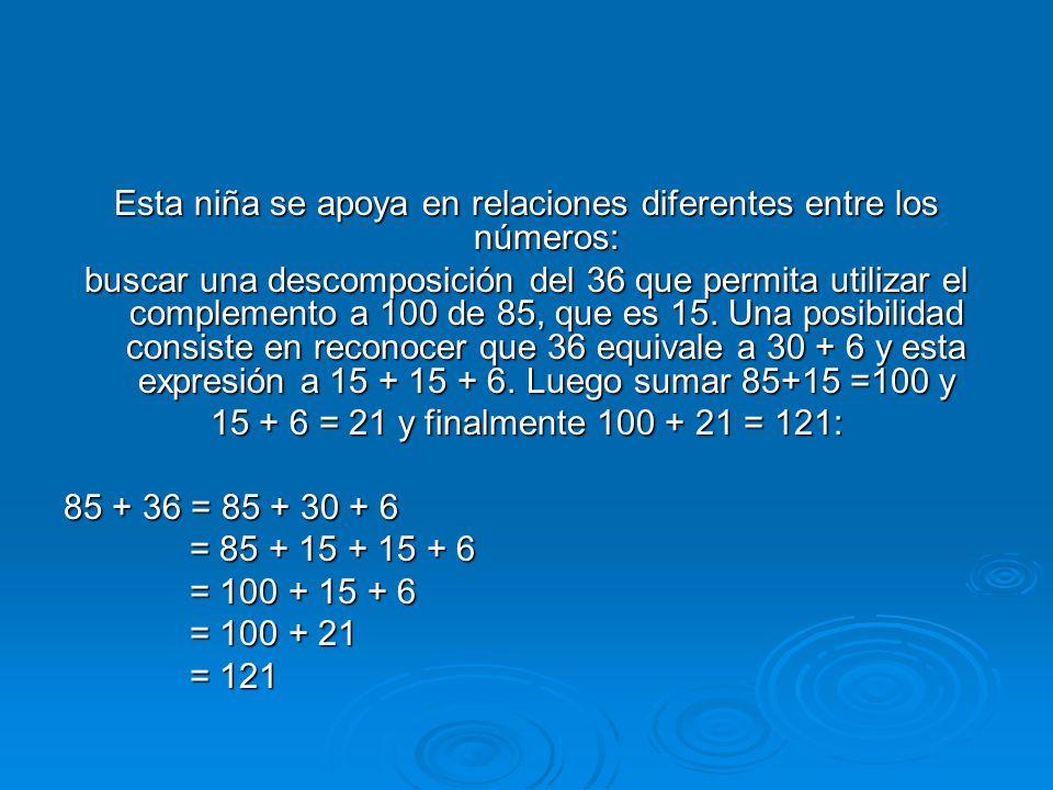 Esta niña se apoya en relaciones diferentes entre los números: buscar una descomposición del 36 que permita utilizar el complemento a 100 de 85, que e