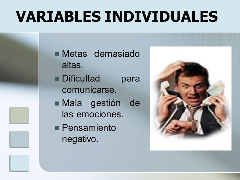 Metas demasiado altas. Dificultad para comunicarse. Mala gestión de las emociones. Pensamiento negativo. VARIABLES INDIVIDUALES
