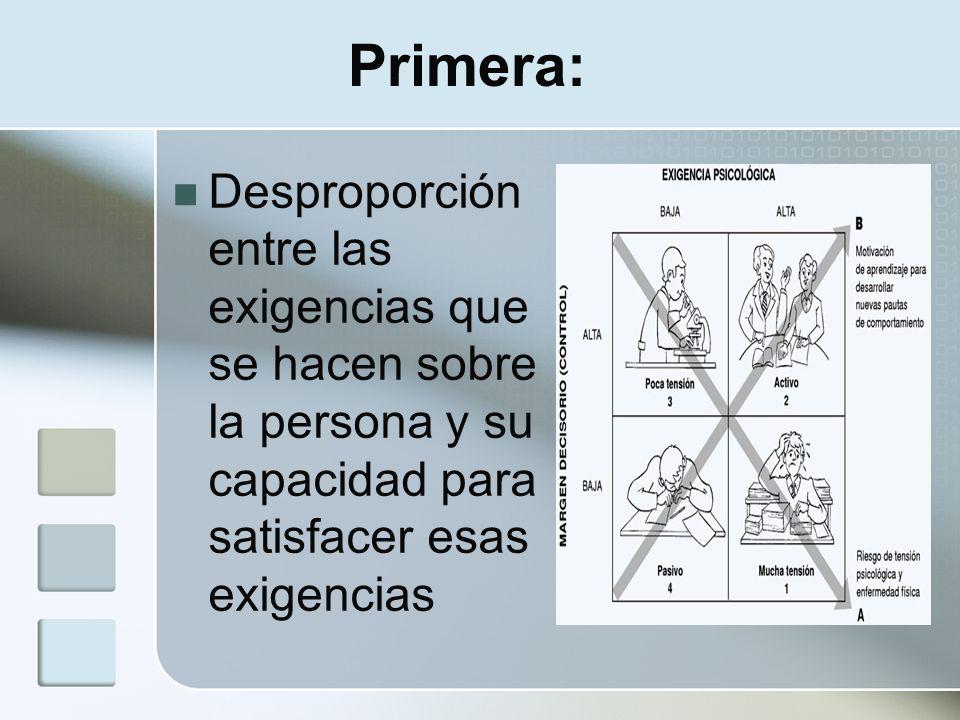 Primera: Desproporción entre las exigencias que se hacen sobre la persona y su capacidad para satisfacer esas exigencias