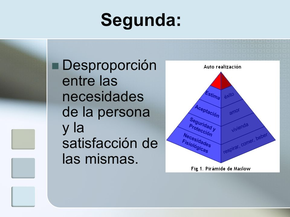Segunda: Desproporción entre las necesidades de la persona y la satisfacción de las mismas.