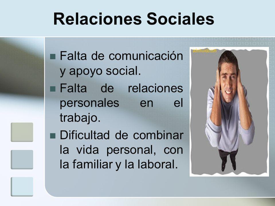Relaciones Sociales Falta de comunicación y apoyo social. Falta de relaciones personales en el trabajo. Dificultad de combinar la vida personal, con l
