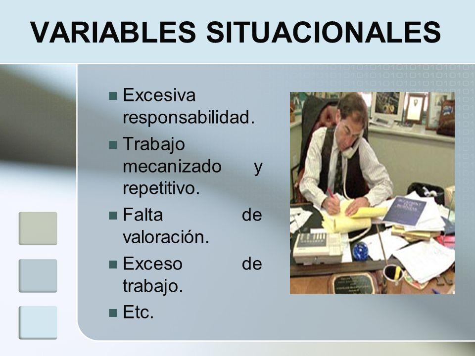 VARIABLES SITUACIONALES Excesiva responsabilidad. Trabajo mecanizado y repetitivo. Falta de valoración. Exceso de trabajo. Etc.