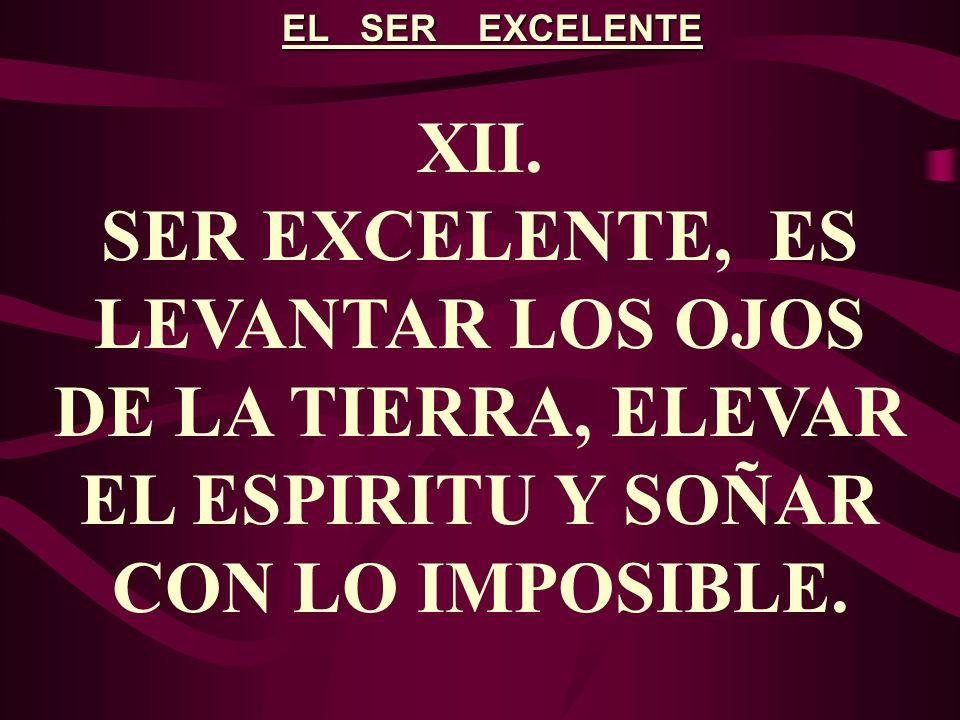 EL SER EXCELENTE XII. SER EXCELENTE, ES LEVANTAR LOS OJOS DE LA TIERRA, ELEVAR EL ESPIRITU Y SOÑAR CON LO IMPOSIBLE.
