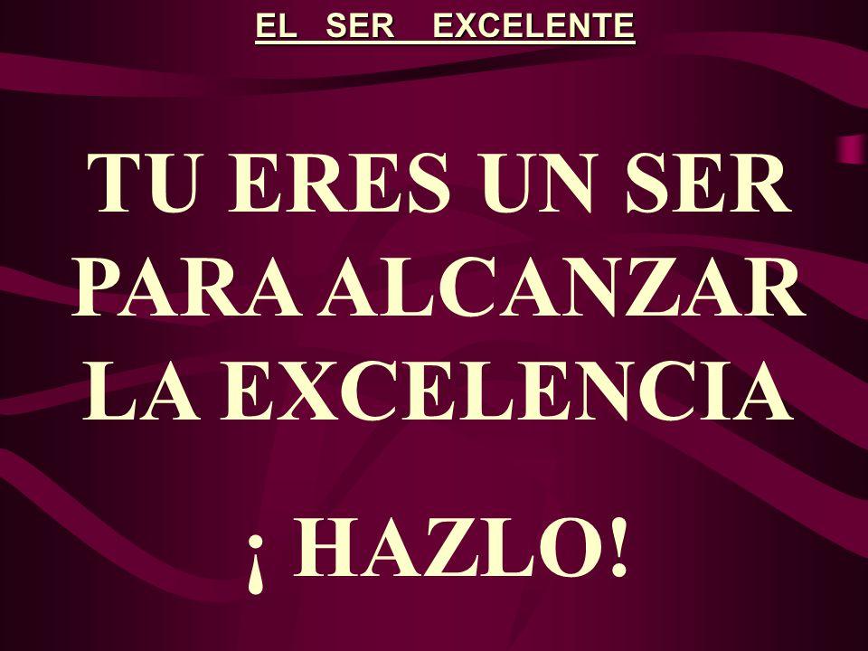 EL SER EXCELENTE TU ERES UN SER PARA ALCANZAR LA EXCELENCIA ¡ HAZLO!