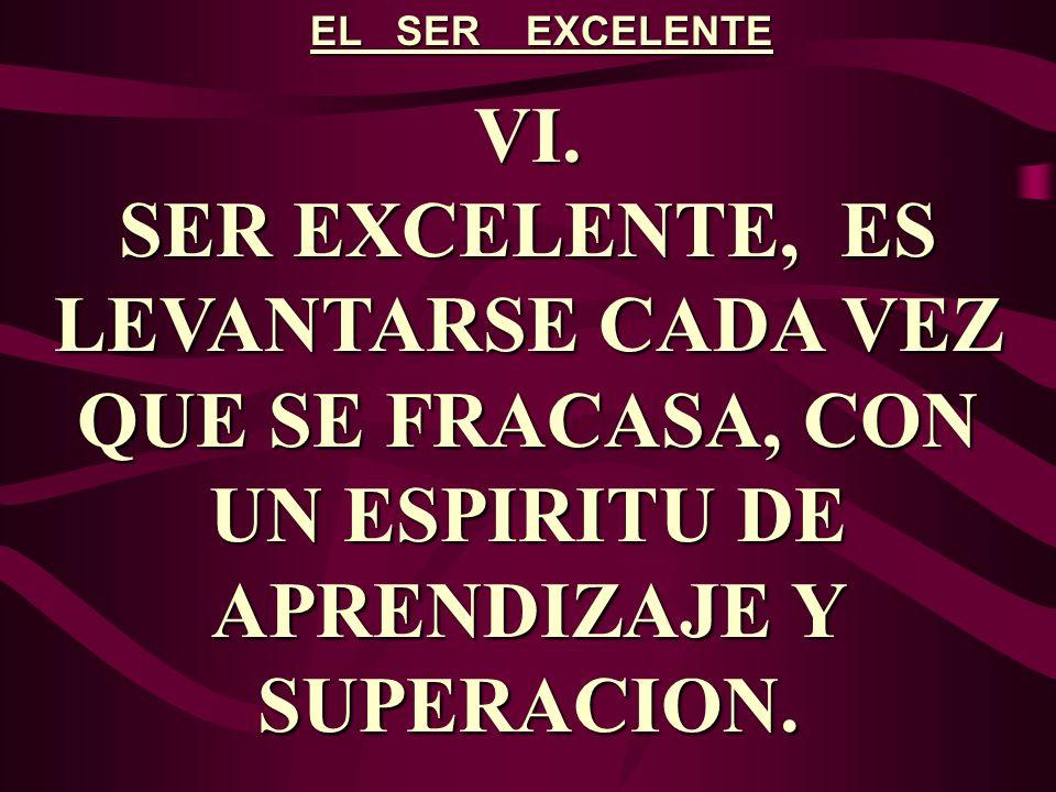 EL SER EXCELENTE VI. SER EXCELENTE, ES LEVANTARSE CADA VEZ QUE SE FRACASA, CON UN ESPIRITU DE APRENDIZAJE Y SUPERACION.