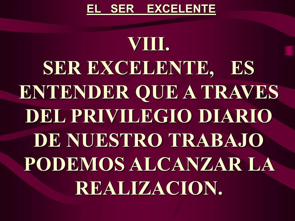EL SER EXCELENTE VIII. SER EXCELENTE, ES ENTENDER QUE A TRAVES DEL PRIVILEGIO DIARIO DE NUESTRO TRABAJO PODEMOS ALCANZAR LA REALIZACION.