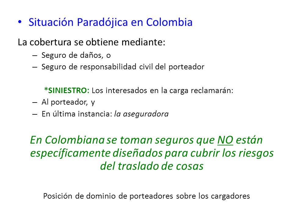 Situación Paradójica en Colombia La cobertura se obtiene mediante: – Seguro de daños, o – Seguro de responsabilidad civil del porteador *SINIESTRO: Lo