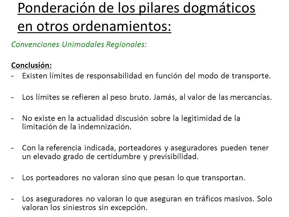 Ponderación de los pilares dogmáticos en otros ordenamientos: Convenciones Unimodales Regionales: Conclusión: -Existen límites de responsabilidad en f