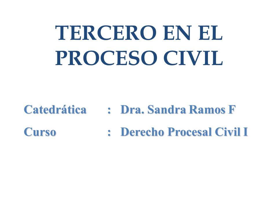 TERCERO EN EL PROCESO CIVIL Catedrática: Dra. Sandra Ramos F Curso : Derecho Procesal Civil I