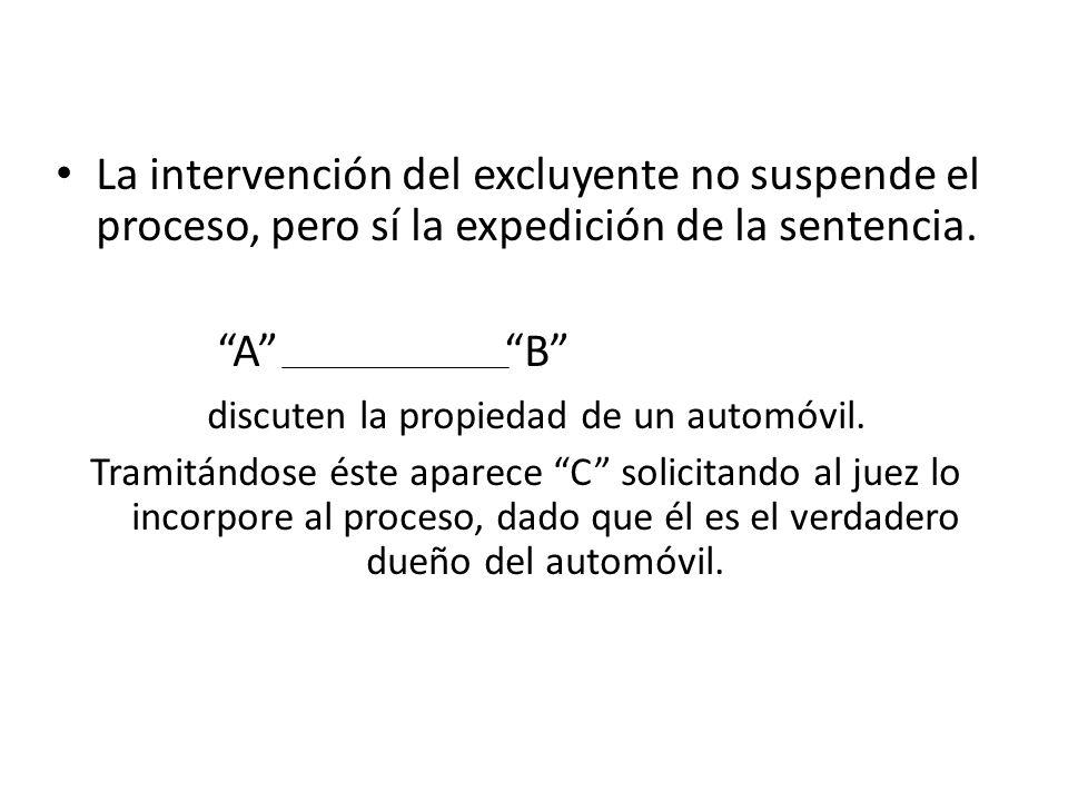 La intervención del excluyente no suspende el proceso, pero sí la expedición de la sentencia.
