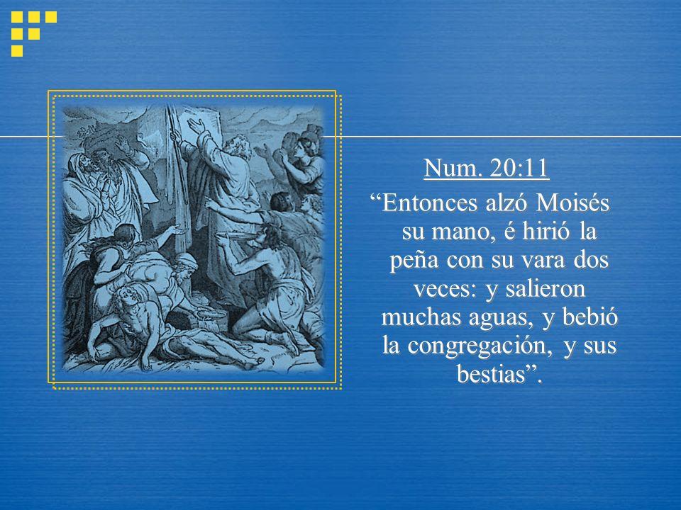 Num. 20:11 Entonces alzó Moisés su mano, é hirió la peña con su vara dos veces: y salieron muchas aguas, y bebió la congregación, y sus bestias.