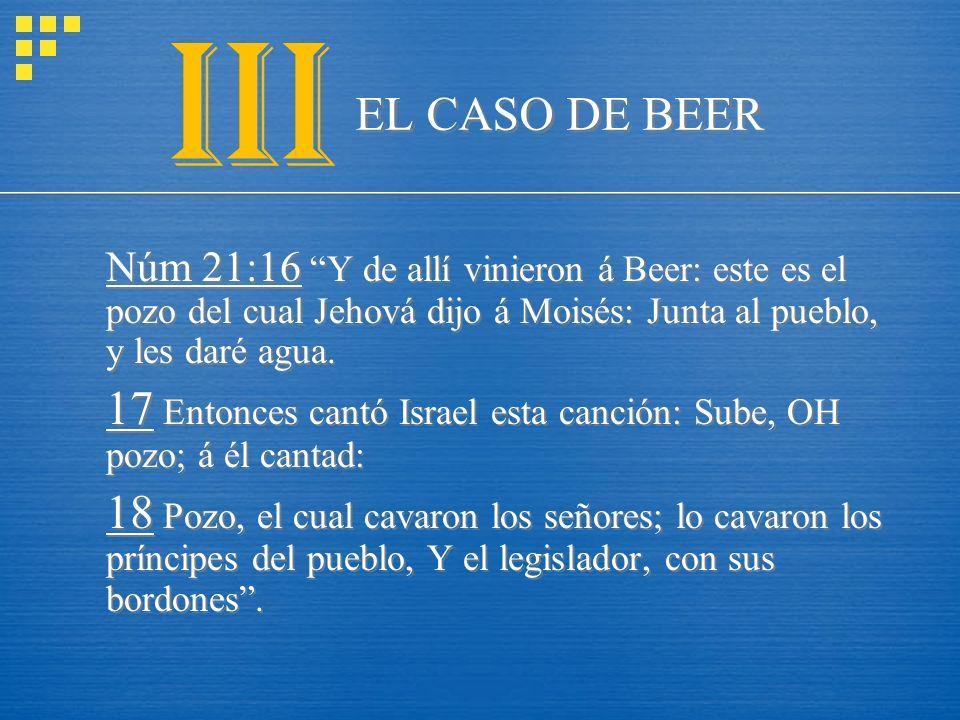 EL CASO DE BEER Núm 21:16 Y de allí vinieron á Beer: este es el pozo del cual Jehová dijo á Moisés: Junta al pueblo, y les daré agua. 17 Entonces cant