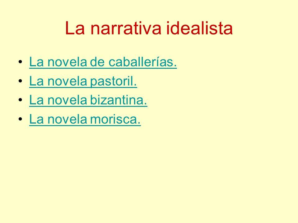 La narrativa idealista La novela de caballerías. La novela pastoril. La novela bizantina. La novela morisca.