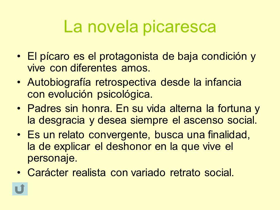 La novela picaresca El pícaro es el protagonista de baja condición y vive con diferentes amos. Autobiografía retrospectiva desde la infancia con evolu