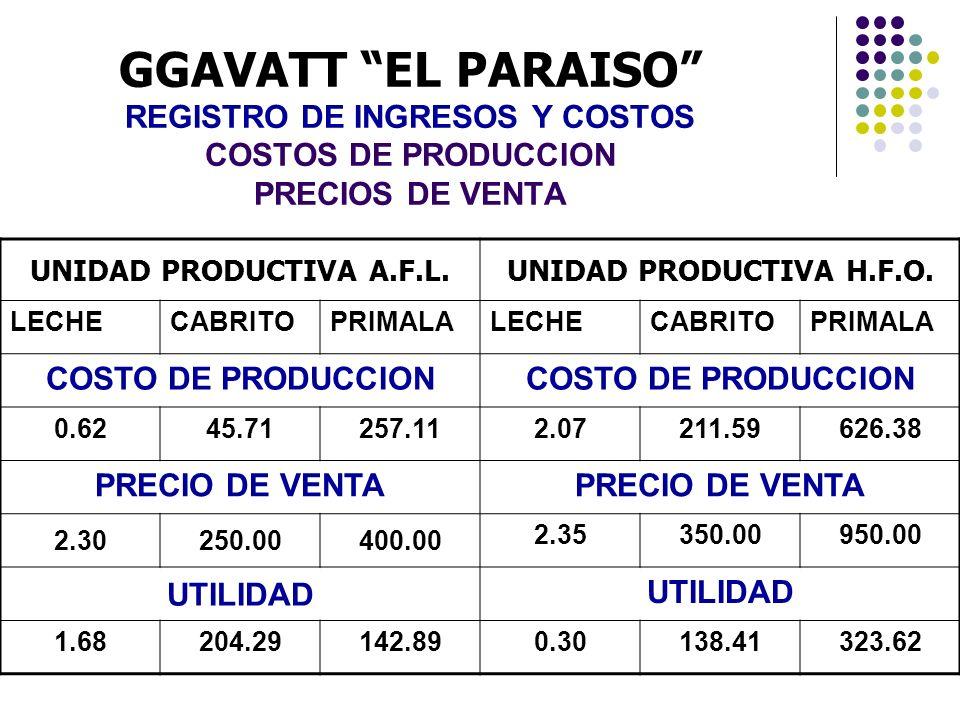 GGAVATT EL PARAISO REGISTRO DE INGRESOS Y COSTOS COSTOS DE PRODUCCION PRECIOS DE VENTA UNIDAD PRODUCTIVA A.F.L.UNIDAD PRODUCTIVA H.F.O. LECHECABRITOPR