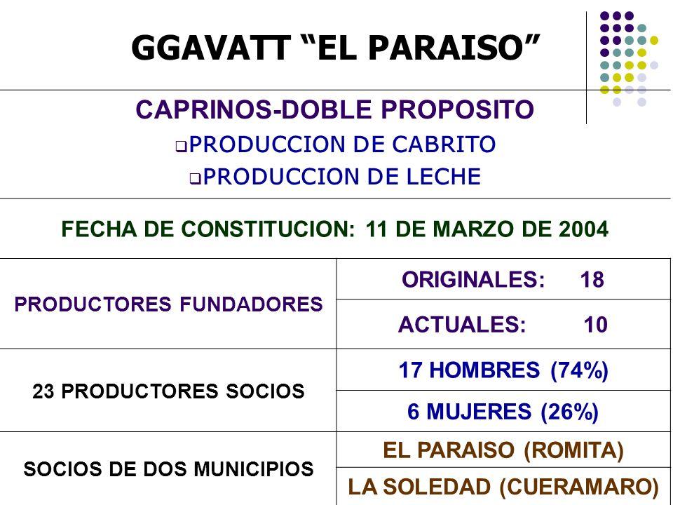 GGAVATT EL PARAISO CAPRINOS-DOBLE PROPOSITO PRODUCCION DE CABRITO PRODUCCION DE LECHE FECHA DE CONSTITUCION: 11 DE MARZO DE 2004 PRODUCTORES FUNDADORE