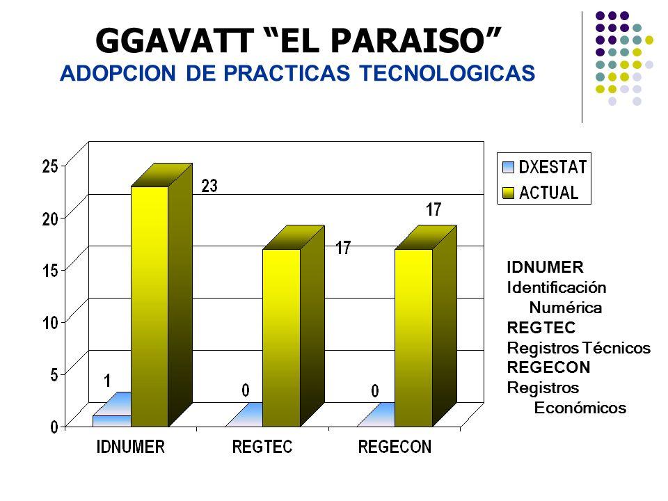 GGAVATT EL PARAISO ADOPCION DE PRACTICAS TECNOLOGICAS IDNUMER Identificación Numérica REGTEC Registros Técnicos REGECON Registros Económicos