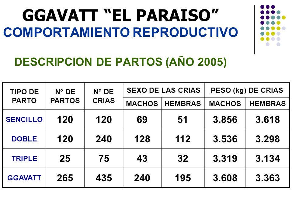 GGAVATT EL PARAISO COMPORTAMIENTO REPRODUCTIVO DESCRIPCION DE PARTOS (AÑO 2005) TIPO DE PARTO N° DE PARTOS N° DE CRIAS SEXO DE LAS CRIASPESO (kg) DE C