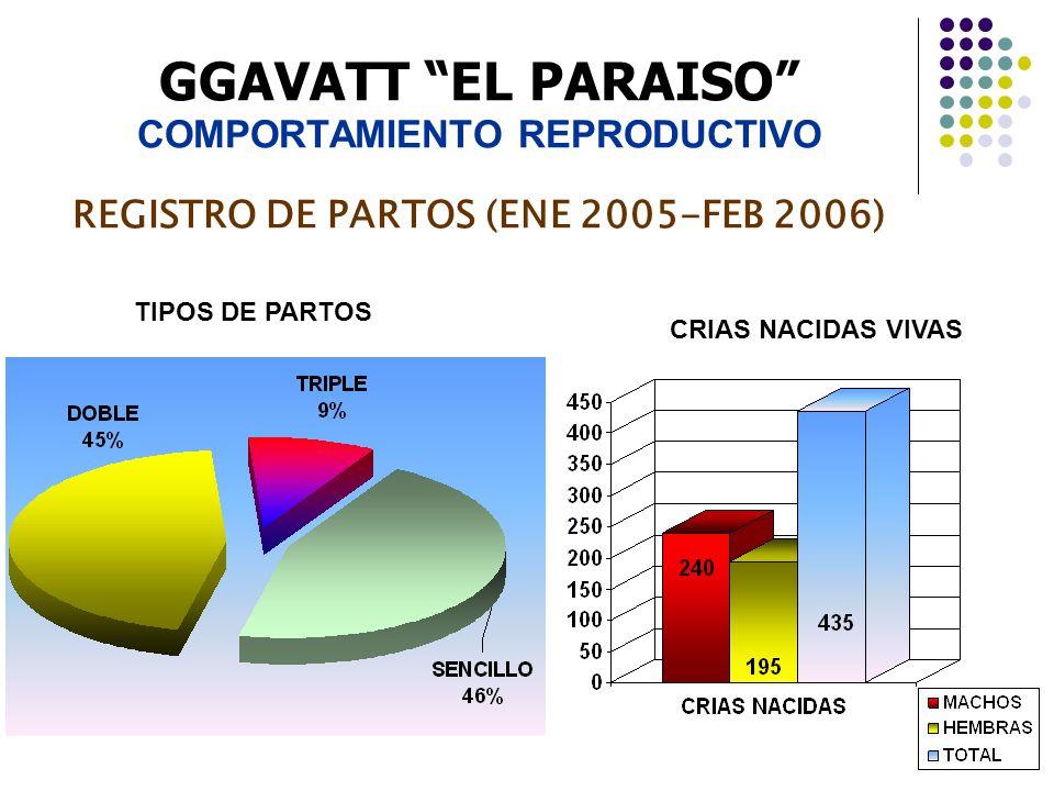 GGAVATT EL PARAISO COMPORTAMIENTO REPRODUCTIVO REGISTRO DE PARTOS (ENE 2005-FEB 2006) CRIAS NACIDAS VIVAS TIPOS DE PARTOS