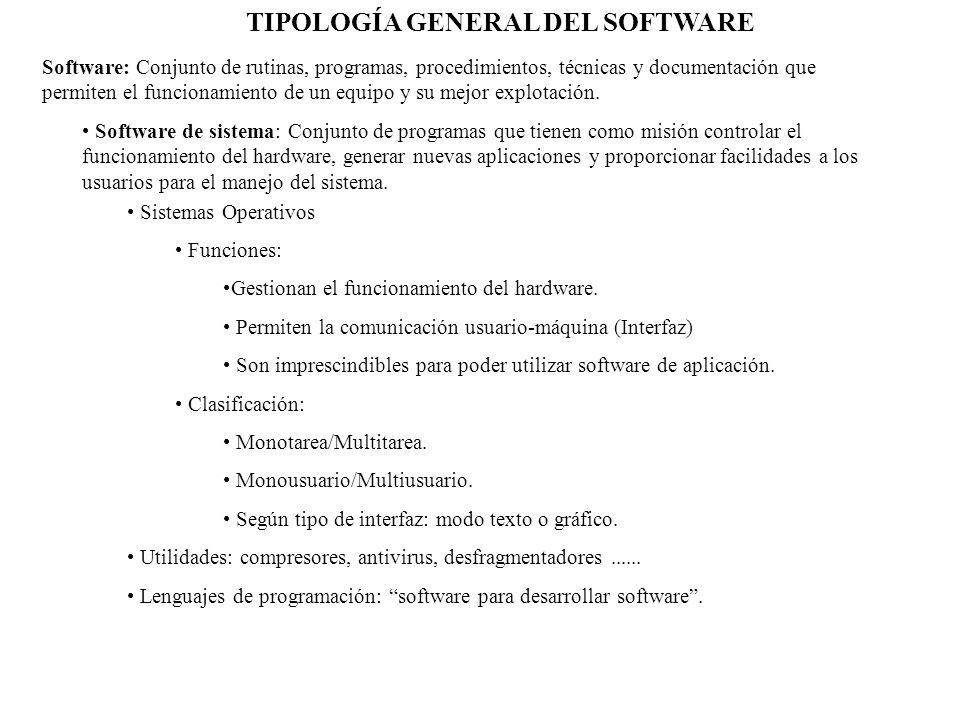 TIPOLOGÍA GENERAL DEL SOFTWARE Software: Conjunto de rutinas, programas, procedimientos, técnicas y documentación que permiten el funcionamiento de un