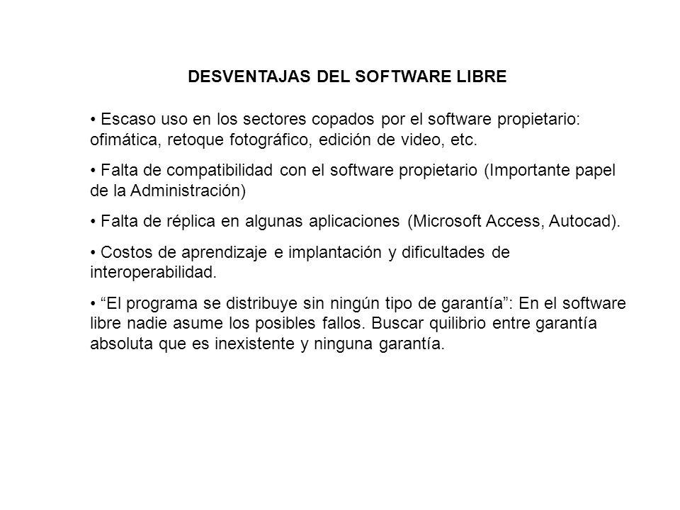 DESVENTAJAS DEL SOFTWARE LIBRE Escaso uso en los sectores copados por el software propietario: ofimática, retoque fotográfico, edición de video, etc.
