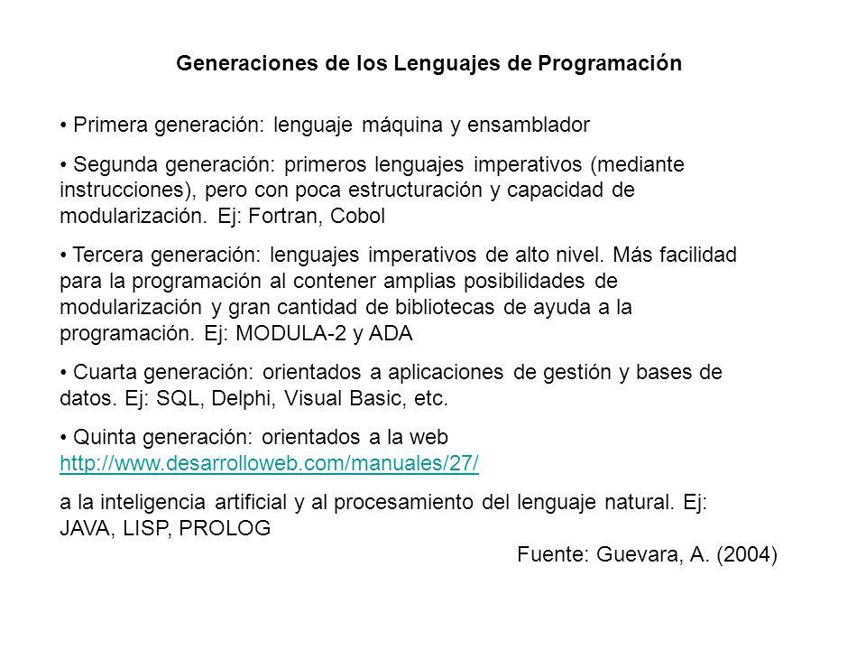 Generaciones de los Lenguajes de Programación Primera generación: lenguaje máquina y ensamblador Segunda generación: primeros lenguajes imperativos (m
