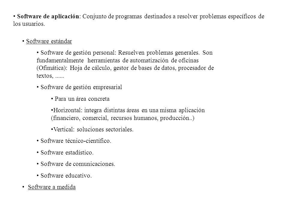 Software de aplicación: Conjunto de programas destinados a resolver problemas específicos de los usuarios. Software estándar Software de gestión perso