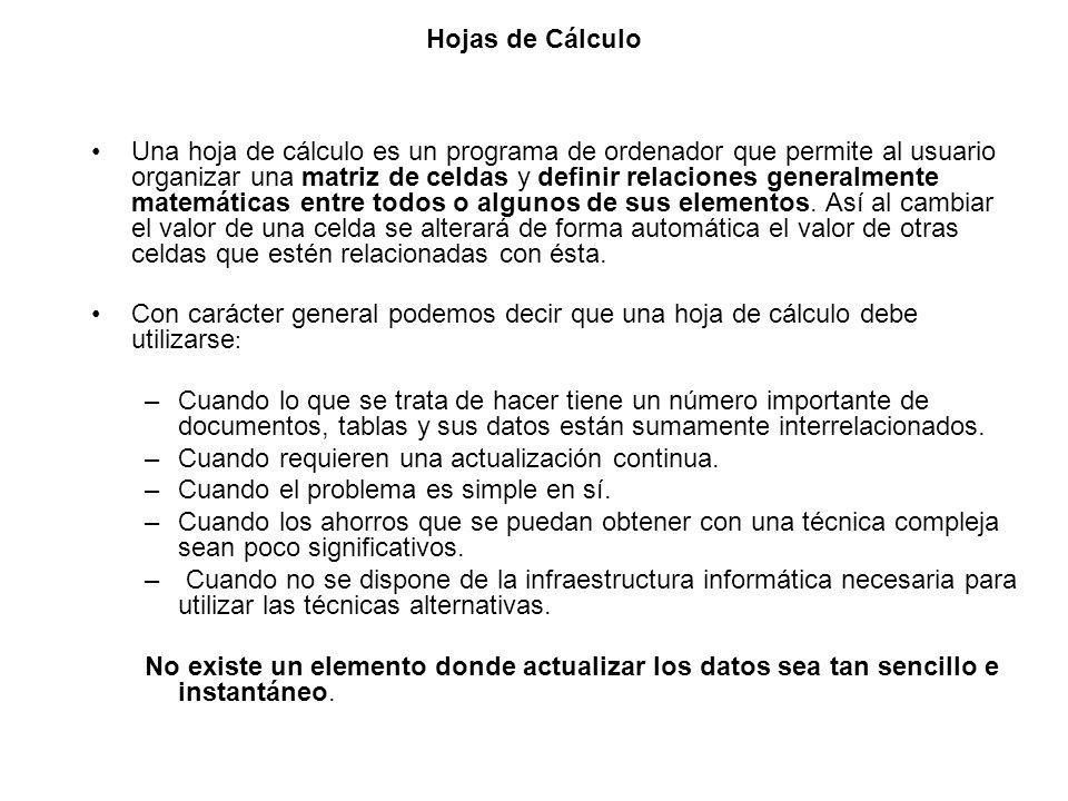 Hojas de Cálculo Una hoja de cálculo es un programa de ordenador que permite al usuario organizar una matriz de celdas y definir relaciones generalmen