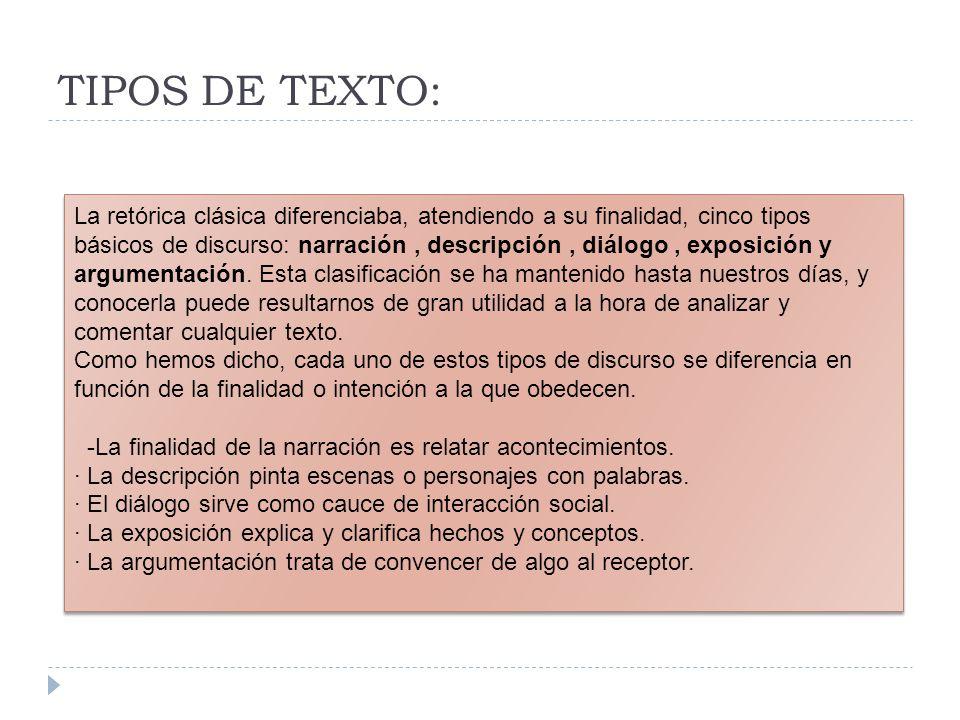 En Selectividad podemos encontrar siguiendo el esquema, textos de las siguientes tipologías.