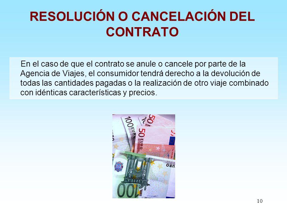 10 RESOLUCIÓN O CANCELACIÓN DEL CONTRATO En el caso de que el contrato se anule o cancele por parte de la Agencia de Viajes, el consumidor tendrá dere