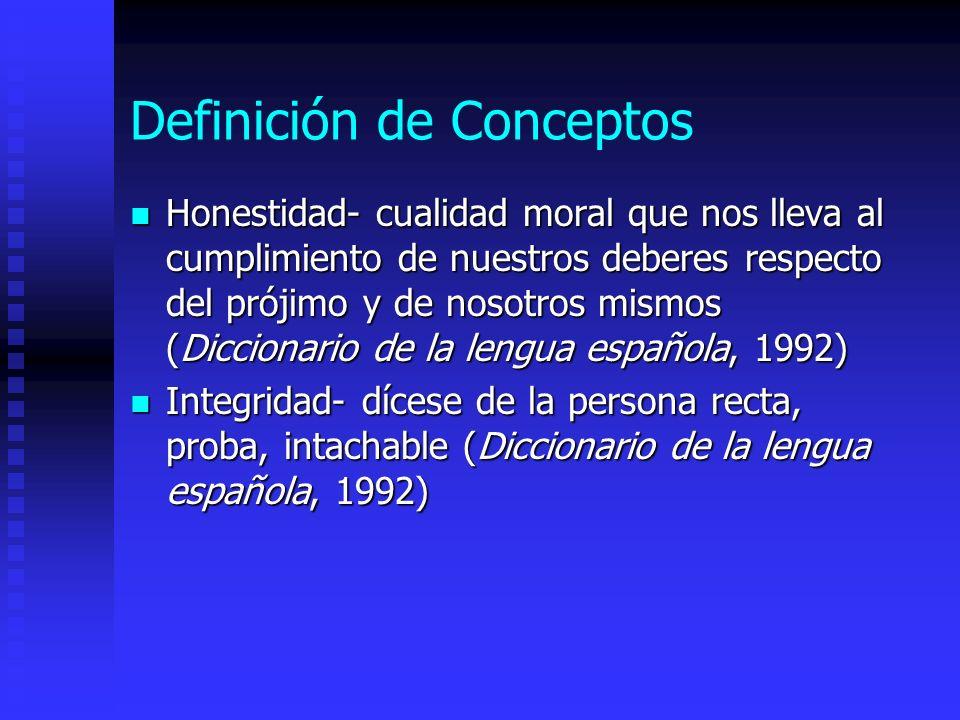 Definición de Conceptos Honestidad- cualidad moral que nos lleva al cumplimiento de nuestros deberes respecto del prójimo y de nosotros mismos (Diccio