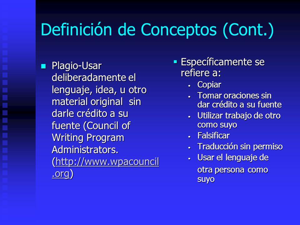 Definición de Conceptos (Cont.) Plagio-Usar deliberadamente el lenguaje, idea, u otro material original sin darle crédito a su fuente (Council of Writ