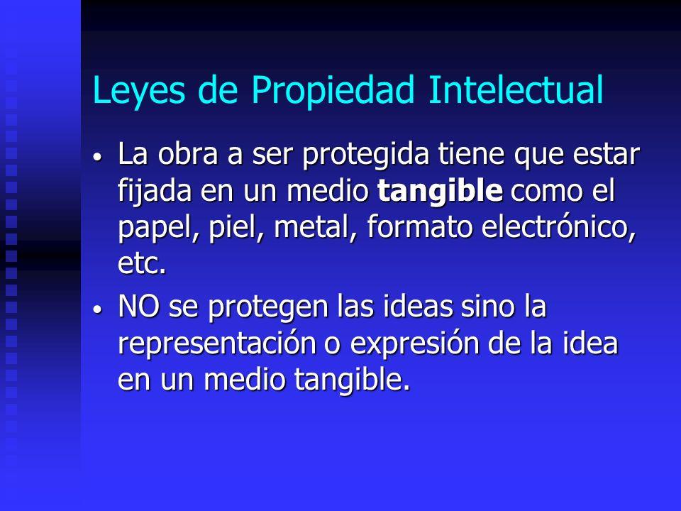 Leyes de Propiedad Intelectual La obra a ser protegida tiene que estar fijada en un medio tangible como el papel, piel, metal, formato electrónico, et