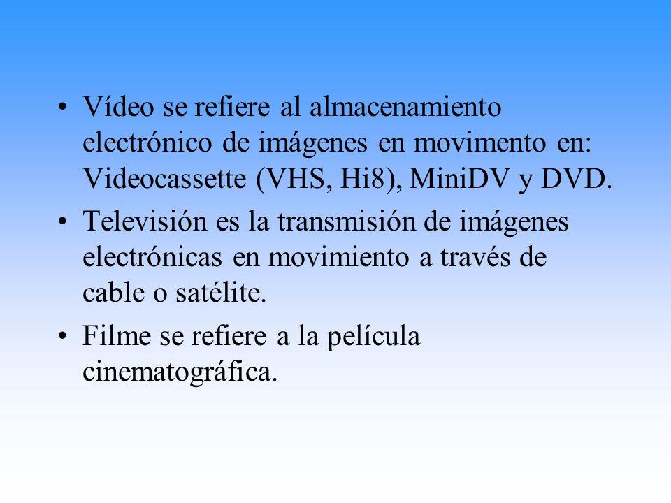 Vídeo se refiere al almacenamiento electrónico de imágenes en movimento en: Videocassette (VHS, Hi8), MiniDV y DVD. Televisión es la transmisión de im