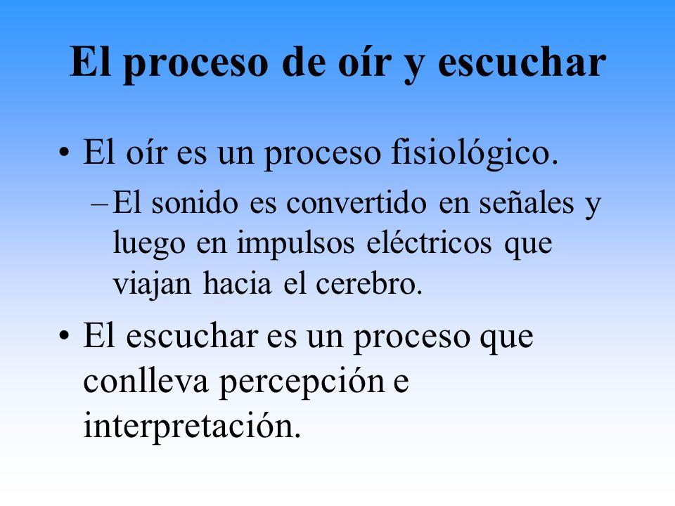 El proceso de oír y escuchar El oír es un proceso fisiológico. –El sonido es convertido en señales y luego en impulsos eléctricos que viajan hacia el