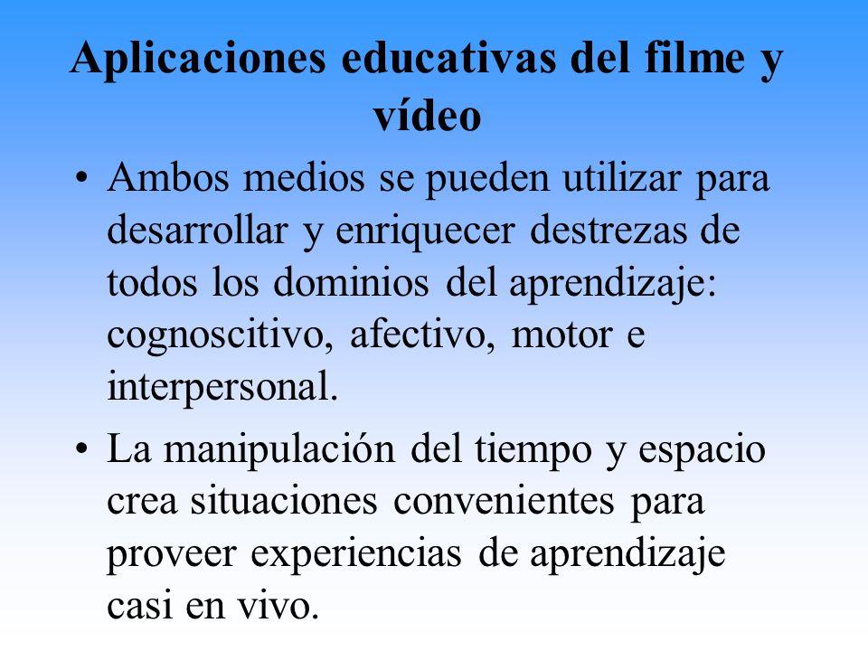 Aplicaciones educativas del filme y vídeo Ambos medios se pueden utilizar para desarrollar y enriquecer destrezas de todos los dominios del aprendizaj