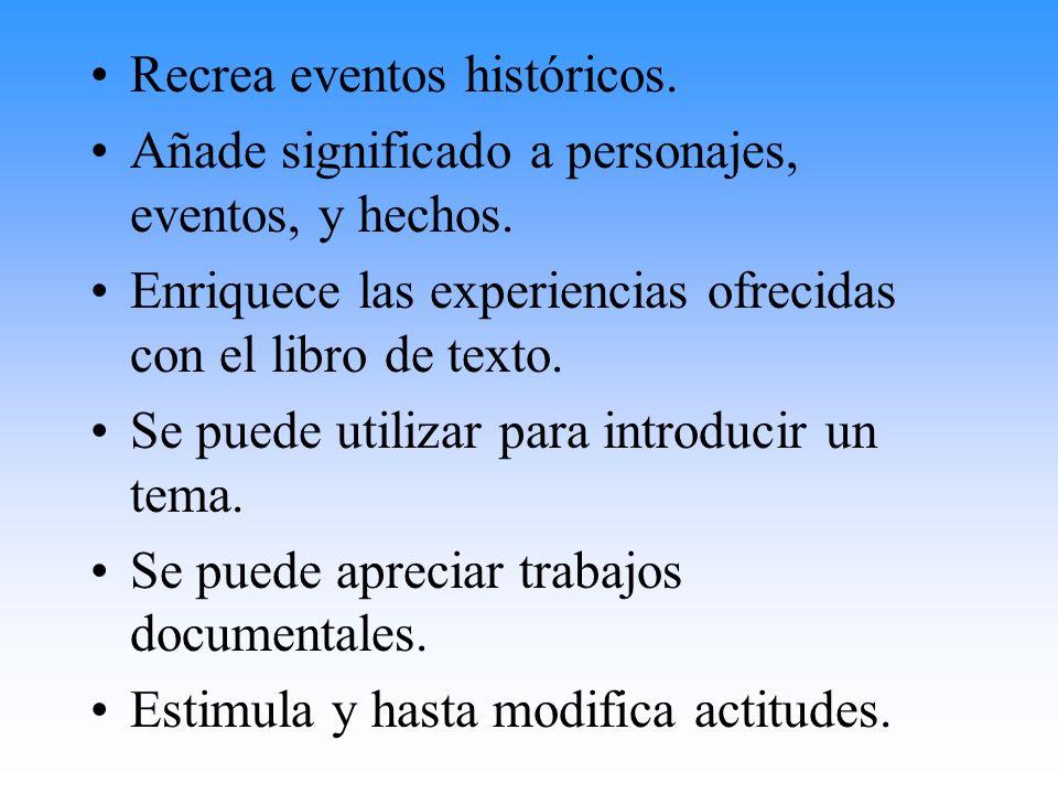 Recrea eventos históricos. Añade significado a personajes, eventos, y hechos. Enriquece las experiencias ofrecidas con el libro de texto. Se puede uti