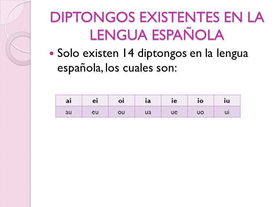 TRIPTONGO Es la unión de tres vocales (una fuerte entre dos débiles) en una sola sílaba, existen los siguientes triptongos: o iai: a-li-viáis o iau: miau o iei: fiéis o ioi: dioi-co o uau: guau o uai: U-ru-guay o uei: buey