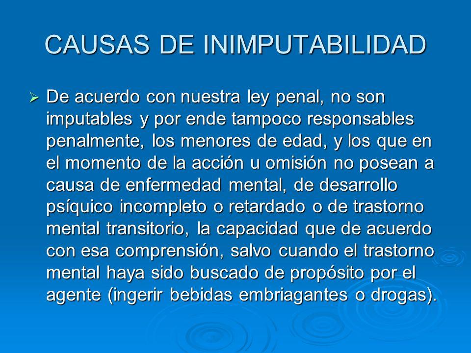 CAUSAS DE INIMPUTABILIDAD De acuerdo con nuestra ley penal, no son imputables y por ende tampoco responsables penalmente, los menores de edad, y los q