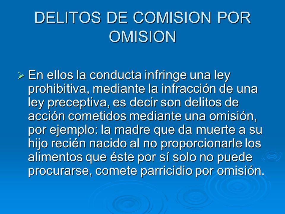 DELITOS DE COMISION POR OMISION En ellos la conducta infringe una ley prohibitiva, mediante la infracción de una ley preceptiva, es decir son delitos