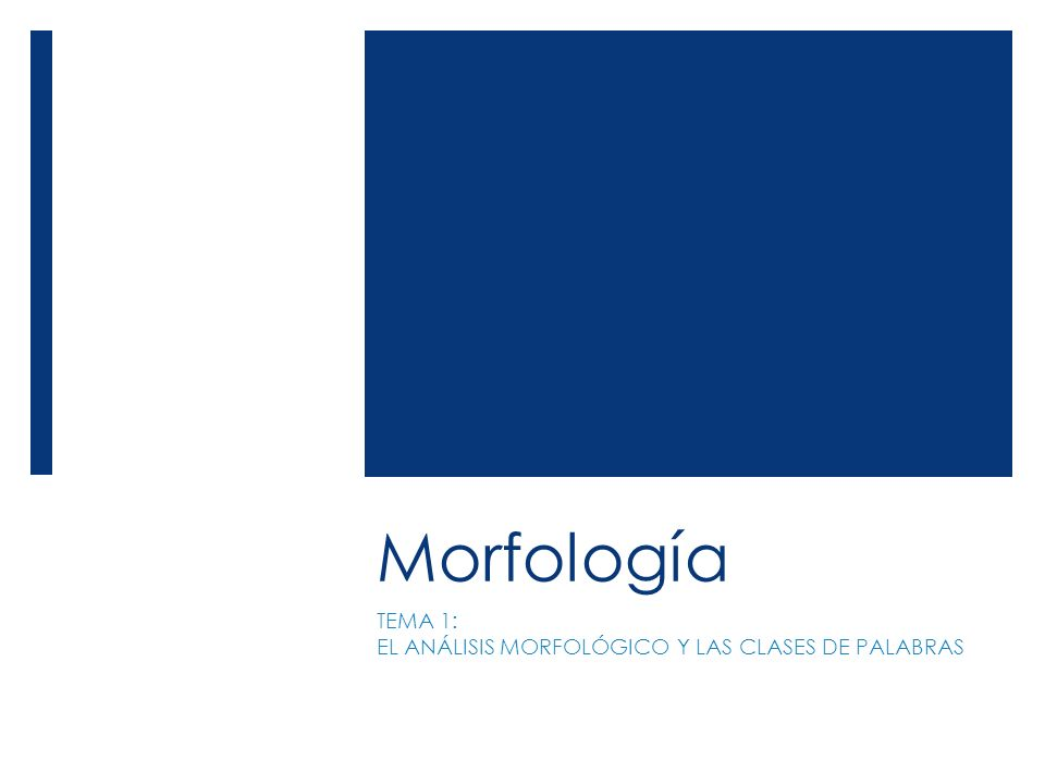 Morfología TEMA 1: EL ANÁLISIS MORFOLÓGICO Y LAS CLASES DE PALABRAS