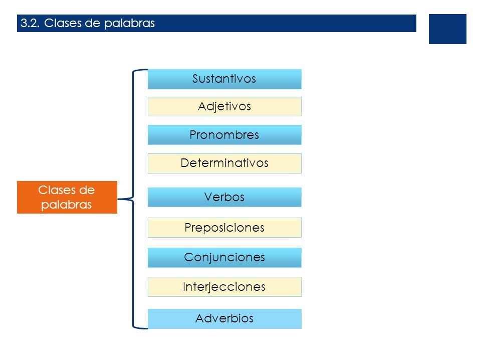 3.2. Clases de palabras Clases de palabras Sustantivos Adjetivos Pronombres Determinativos Verbos Preposiciones Conjunciones Interjecciones Adverbios