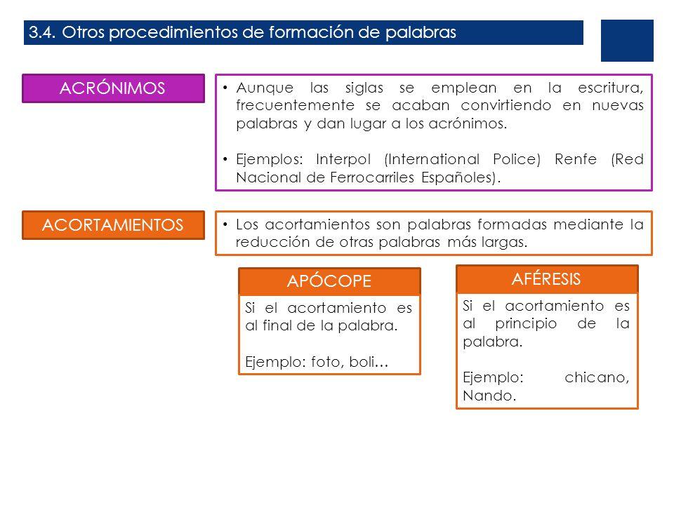 3.4. Otros procedimientos de formación de palabras ACRÓNIMOS Aunque las siglas se emplean en la escritura, frecuentemente se acaban convirtiendo en nu