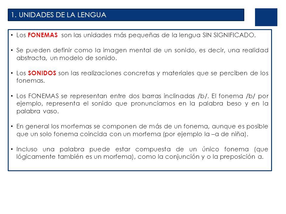 1. UNIDADES DE LA LENGUA Los FONEMAS son las unidades más pequeñas de la lengua SIN SIGNIFICADO. Se pueden definir como la imagen mental de un sonido,