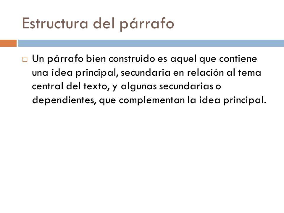 Estructura del párrafo Un párrafo bien construido es aquel que contiene una idea principal, secundaria en relación al tema central del texto, y alguna