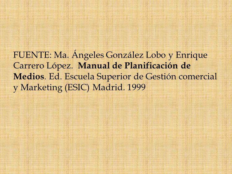 FUENTE: Ma. Ángeles González Lobo y Enrique Carrero López. Manual de Planificación de Medios. Ed. Escuela Superior de Gestión comercial y Marketing (E