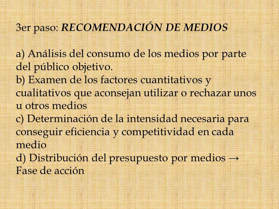 3er paso: RECOMENDACIÓN DE MEDIOS a) Análisis del consumo de los medios por parte del público objetivo. b) Examen de los factores cuantitativos y cual