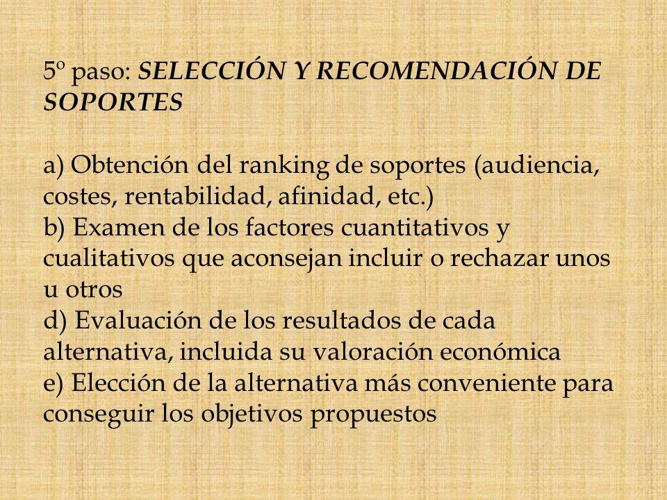 5º paso: SELECCIÓN Y RECOMENDACIÓN DE SOPORTES a) Obtención del ranking de soportes (audiencia, costes, rentabilidad, afinidad, etc.) b) Examen de los