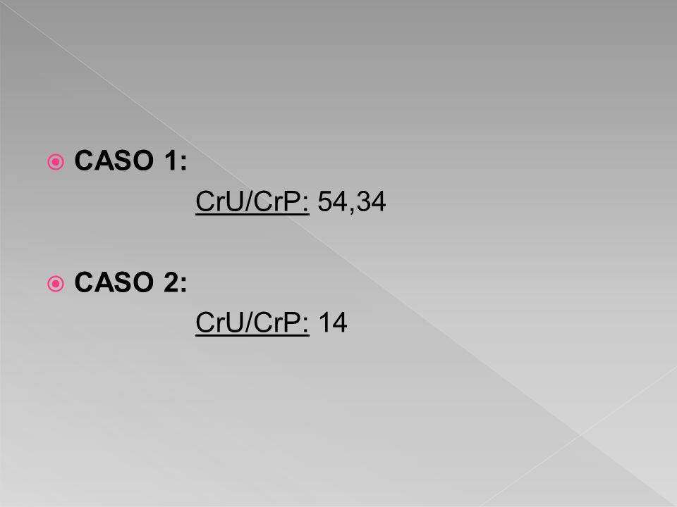 CASO 1: CrU/CrP: 54,34 CASO 2: CrU/CrP: 14