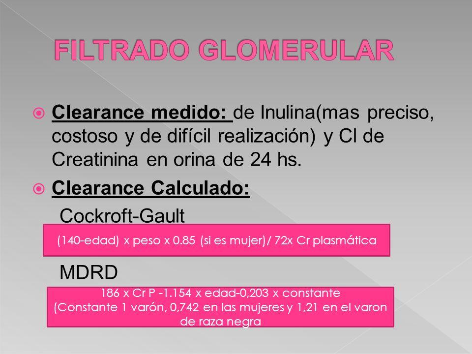 Clearance medido: de Inulina(mas preciso, costoso y de difícil realización) y Cl de Creatinina en orina de 24 hs. Clearance Calculado: Cockroft-Gault